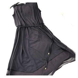 Dark Navy Midi Dress with Tie Waist